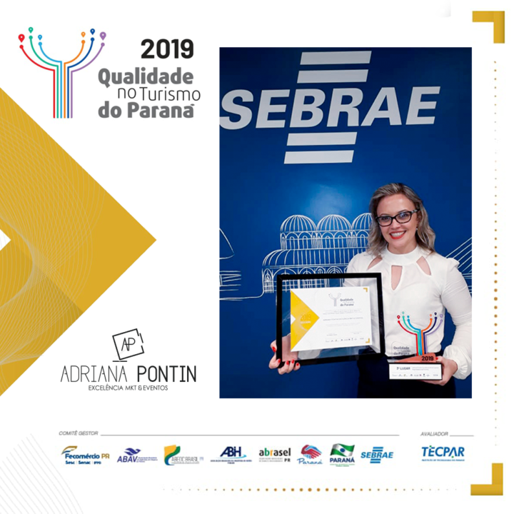 Adriana Pontin recebe premiação e Troféu 2019 do Selo de Qualidade do Sebrae e se posiciona entre as melhores do Paraná 